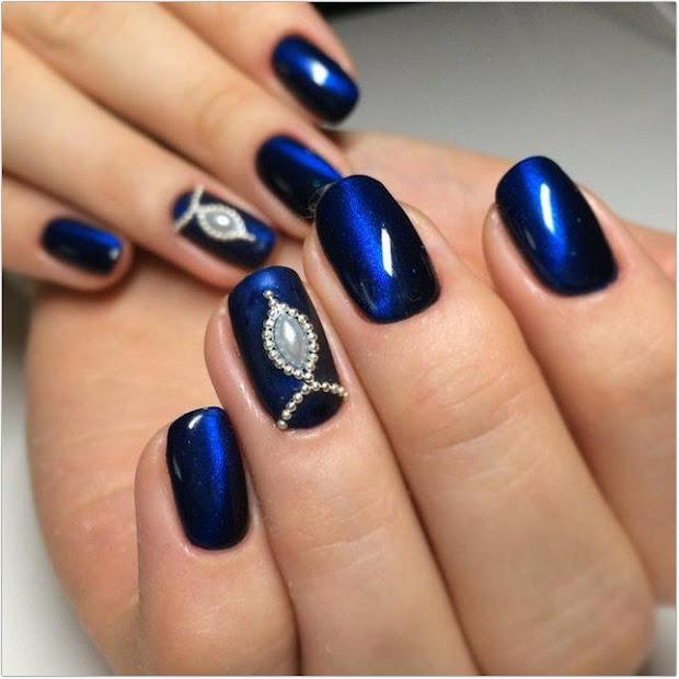 blue and black nail design nails