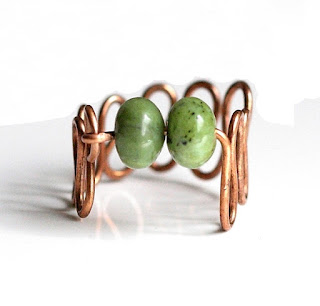 Nephrite Jade & Copper Squiggle Ring