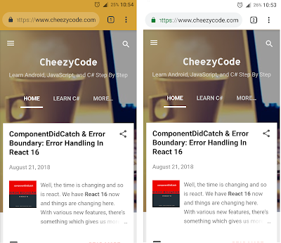 Screenshot of theme colored address bar and without it in chrome