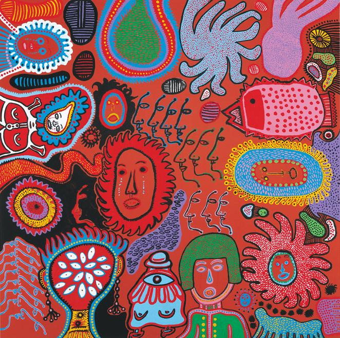 美術館 情報サイトアートアジェンダ 注目の展覧会 草間彌生 作品 「わが永遠の魂」シリーズより うれいのごとく くれないの 赤きくちびる おしあてて あつきなみだを ながせども あゝ 春はゆく 春はゆく ©YAYOI KUSAMA