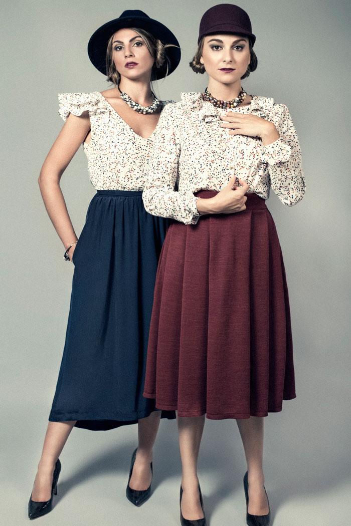 falda midi, vestido asimetrico, estampado estrellas multicolor, moda sostenible, made in spain
