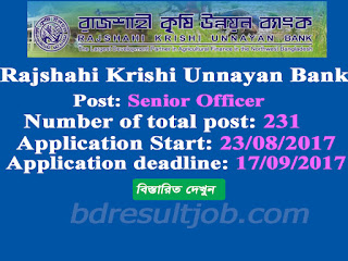 Rajshahi Krishi Unnayan Bank (RAKUB) Senior Officer Job Circular 2017