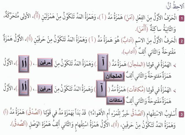 حل درس همزة المد لغة عربية