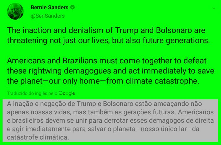 Tweet d Bernie Sanders