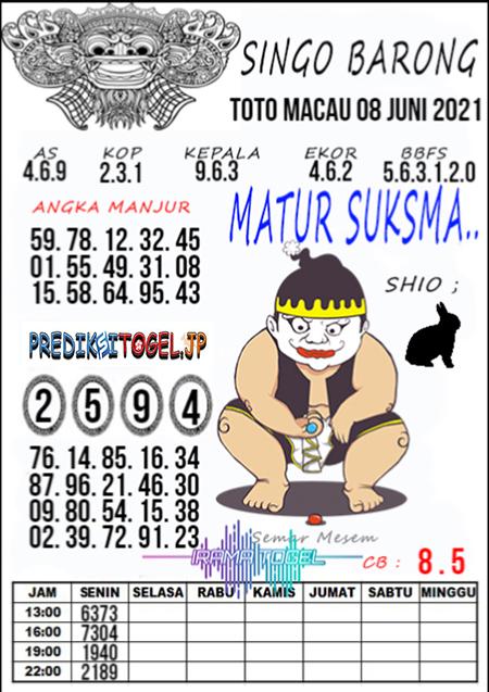 Syair Top Singo Barong Toto Macau Selasa 08 Juni 2021