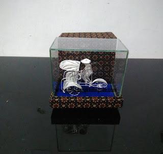 pedicab miniature silver plating,miniatur becak