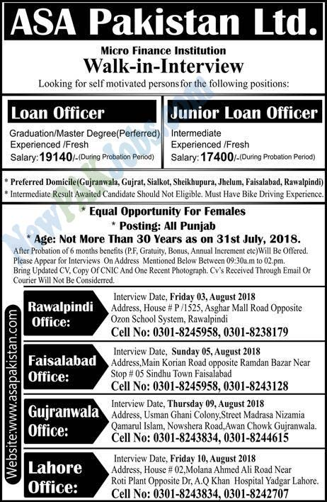 ASA Pakistan Limited Offers Latest Jobs, Walk in Interview