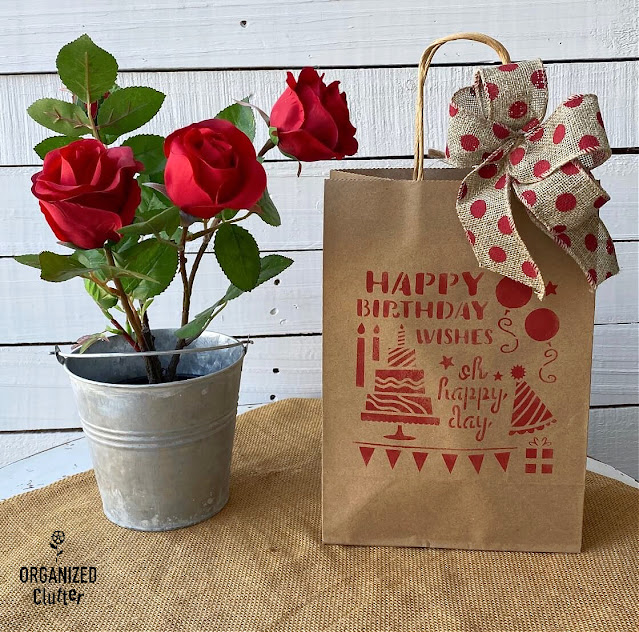 Photo of decorated gift bag with bow
