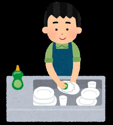 皿洗いのイラスト(男性)