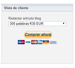 Ejemplo botón de pago paypal