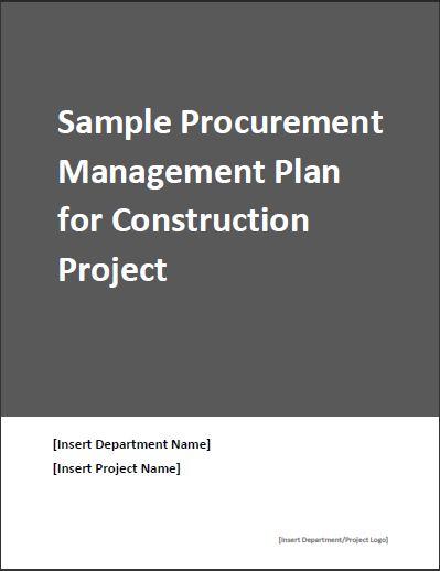 Sample procurement plan for construction project
