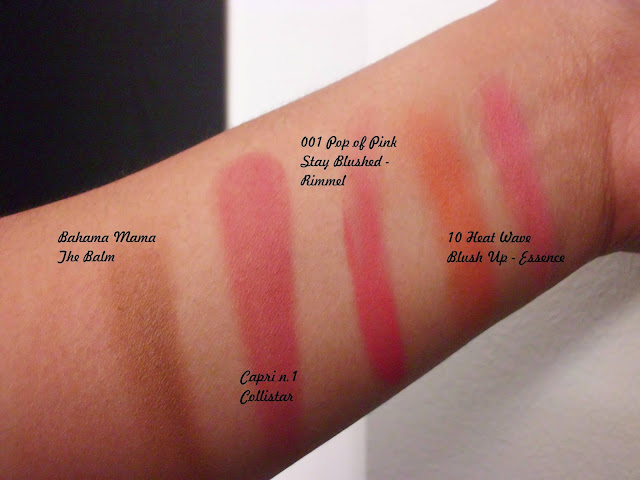 Swatches Bahama Mama The Balm, Capri Collistar, Pop of Pink Stay Blushed Rimmel, Heat Wave Essence