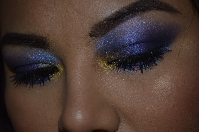 Purple and GOld Eye Makeup  with Saint & Sinner by Kat Von D