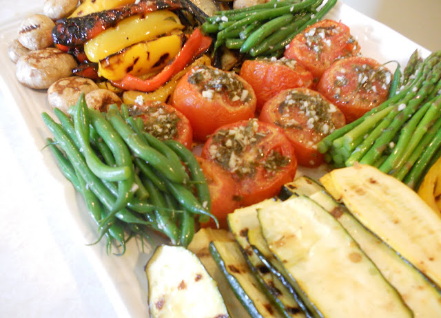 A beautiful grilled vegetable display