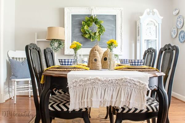 blue and yellow summer cottage decor