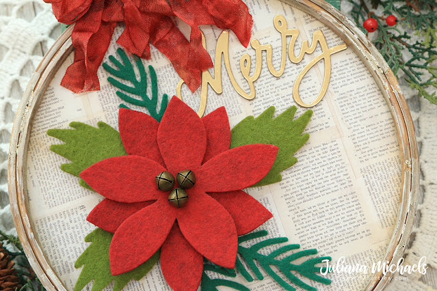Merry Embroidery Hoop by Juliana Michaels featuring Tim Holtz Sizzix Merry and Bright Thinlits and Festivities Bigz Dies