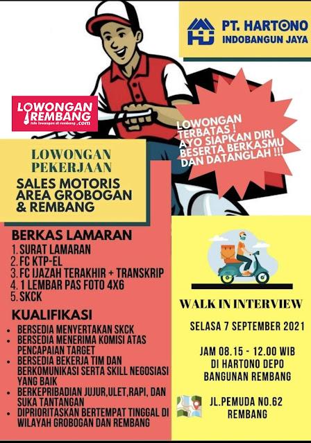 Lowongan Kerja Sales Motoris PT Hartono Indobangun Jaya Area Rembang dan Grobogan