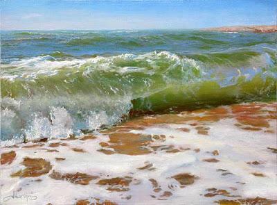 cuadro con olas del mar en la playa