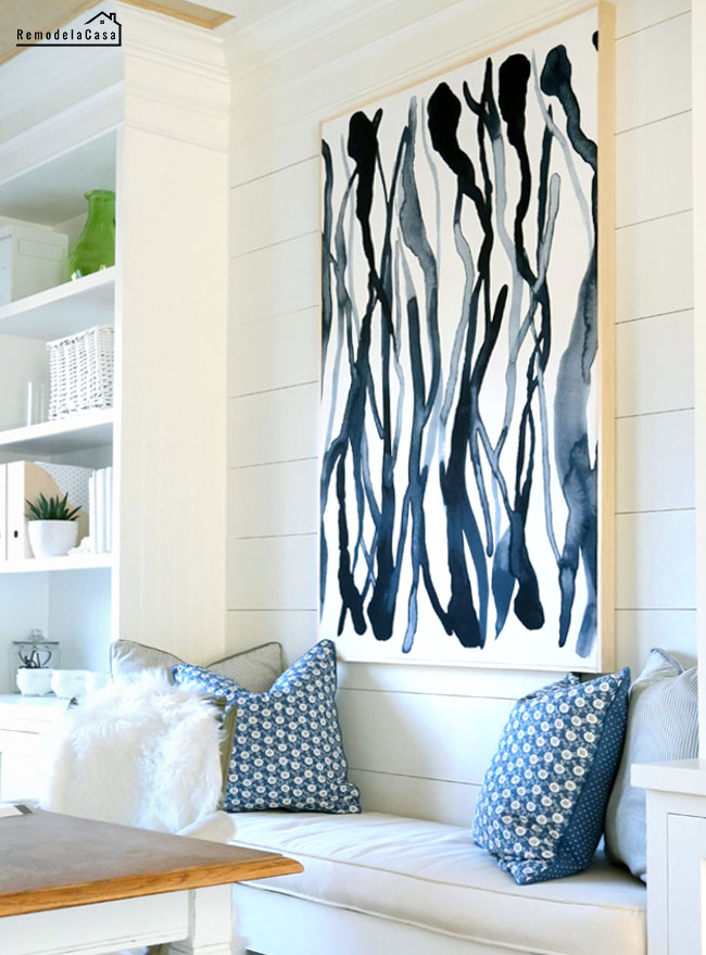Hanna Delrot fabric used for a wall art in home office space with bench and build ins