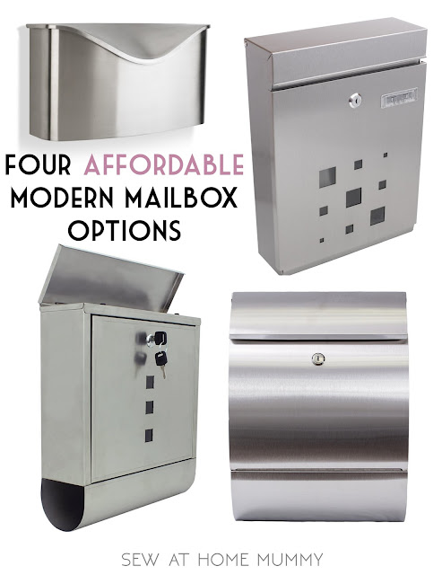 four affordable modern and mid century modern mailbox options, stainless steel mailboxes || Sew at Home Mummy