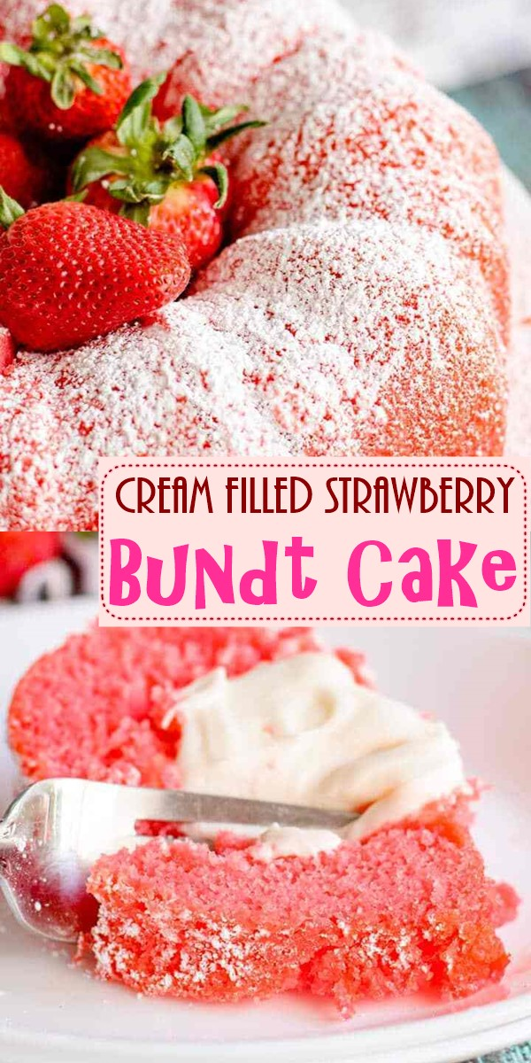 Cream Filled Strawberry Bundt Cake