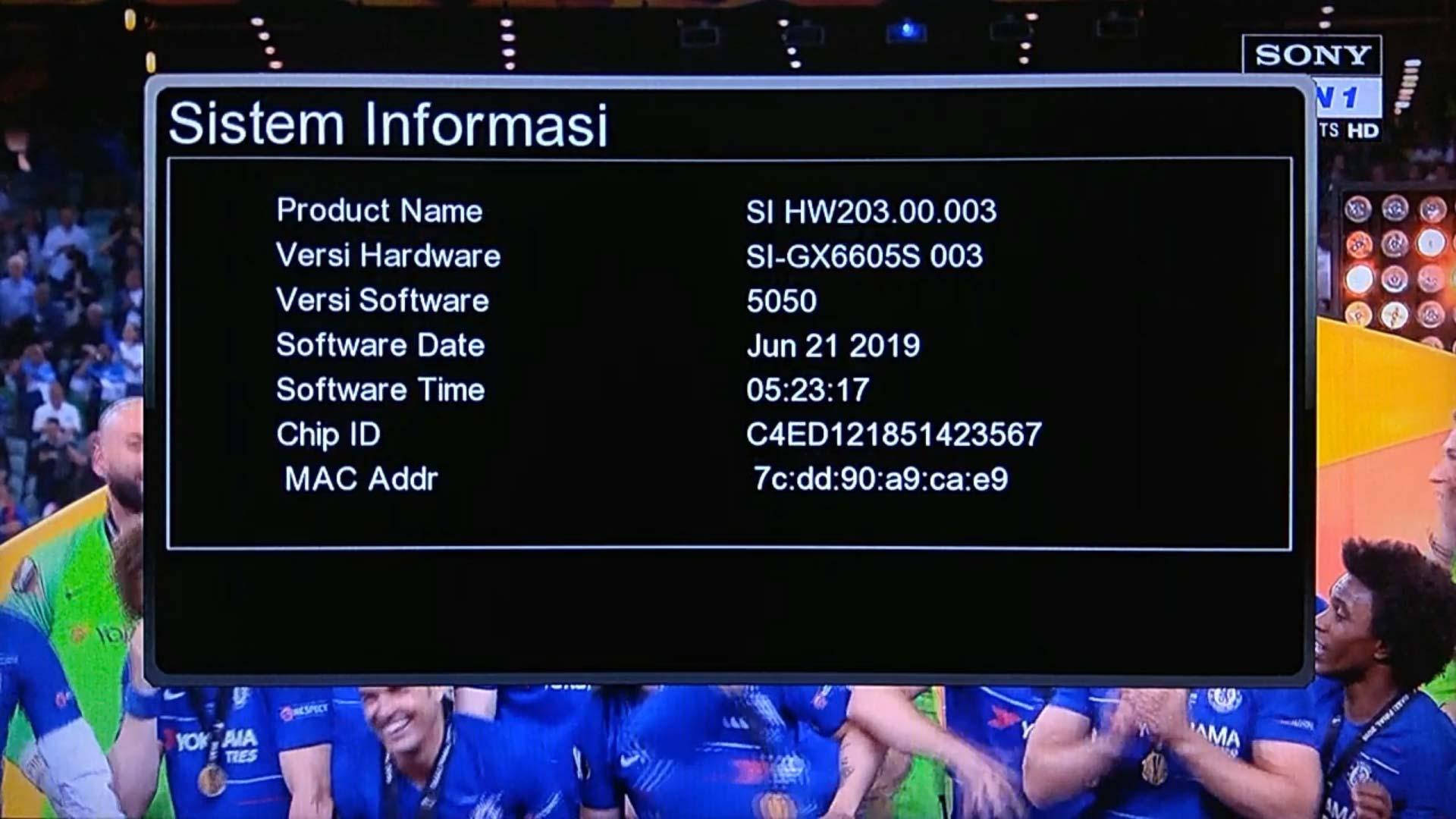 SW GX6605S HW203.00.003 untuk buka Sony Ten 1 HD Asiasat 7