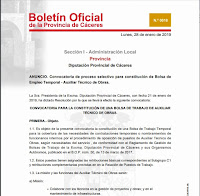 BOLSA DE EMPLEO  DE AUXILIAR TECNICO DE OBRAS EN LA Excma DIPUTACION DE CACERES