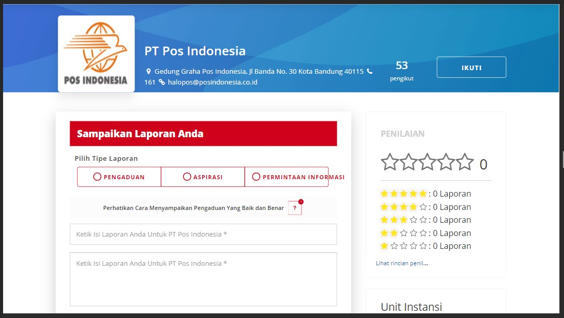 form permintaan informasi POS Indonesia di lapor.go.id