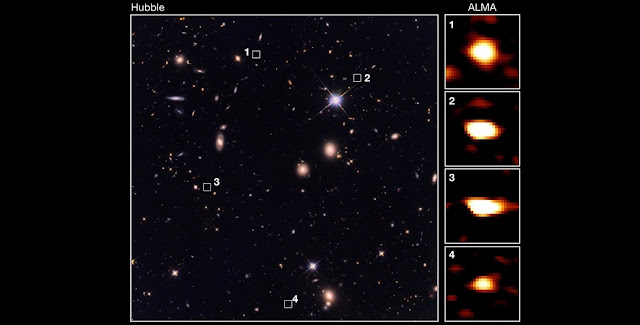 Ancient galaxies from the study are visible to ALMA (right) but not to Hubble (left). Image © 2019 Wang et al.