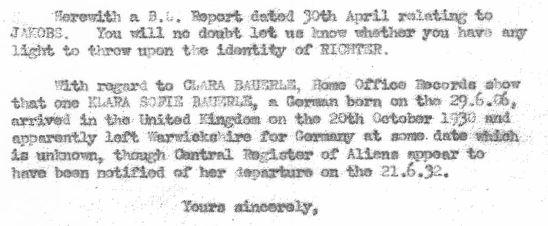 May 2, 1941 - KV 2/25 - 74a - MI5 to SIS re: Clara Bauerle & Klara Sofie Bauerle