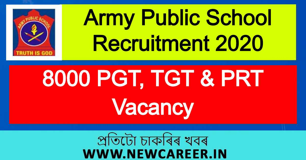 Army Public School Recruitment 2020 : Apply For 8000 PGT, TGT & PRT Vacancy