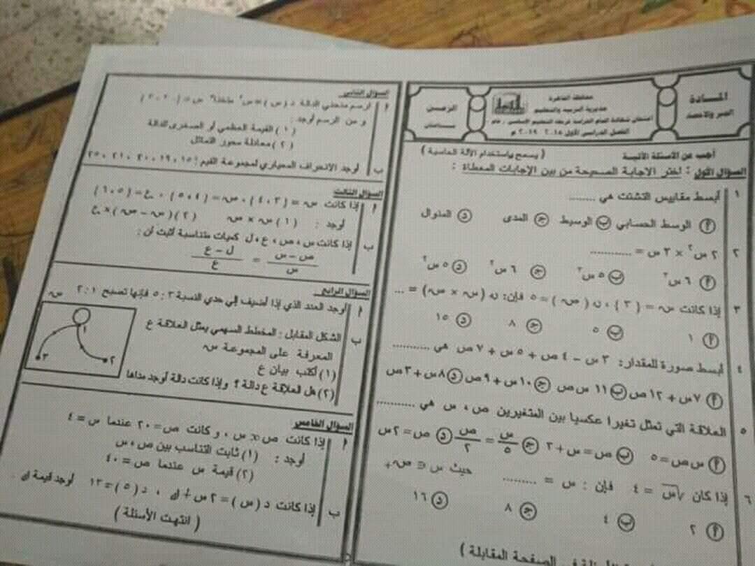 ورقة امتحان الجبر للصف الثالث الاعدادي الترم الاول 2019 محافظة القاهرة