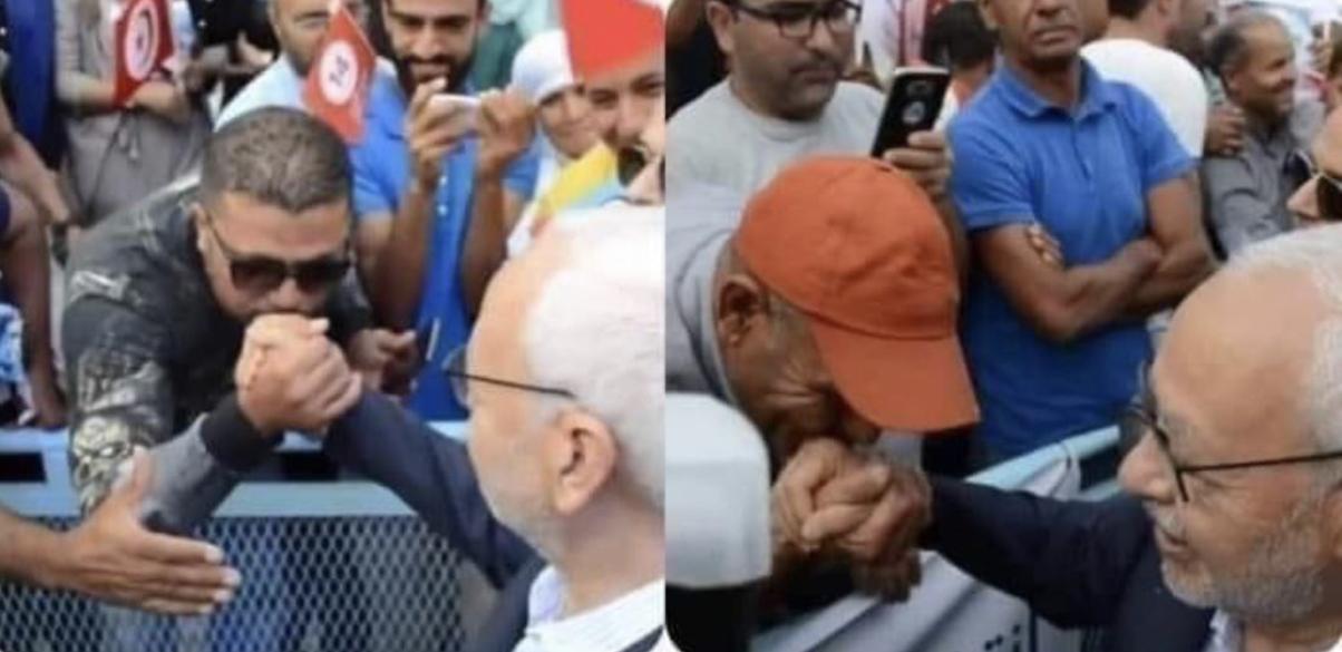 بالصور : تقبيل يد راشد الغنوشي بطريقة مذلة من عديد المواطنين تثير غضب رواد مواقع التواصل الاجتماعي