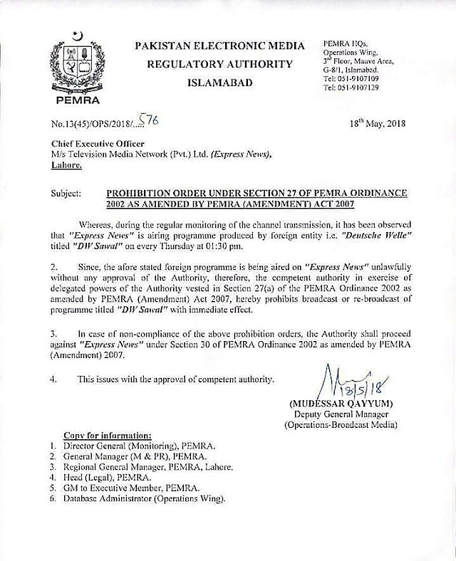 """PROHIBITION OF BROADCAST OF PROGRAMME """"DW SAWAL"""" AT EXPRESS NEWS"""