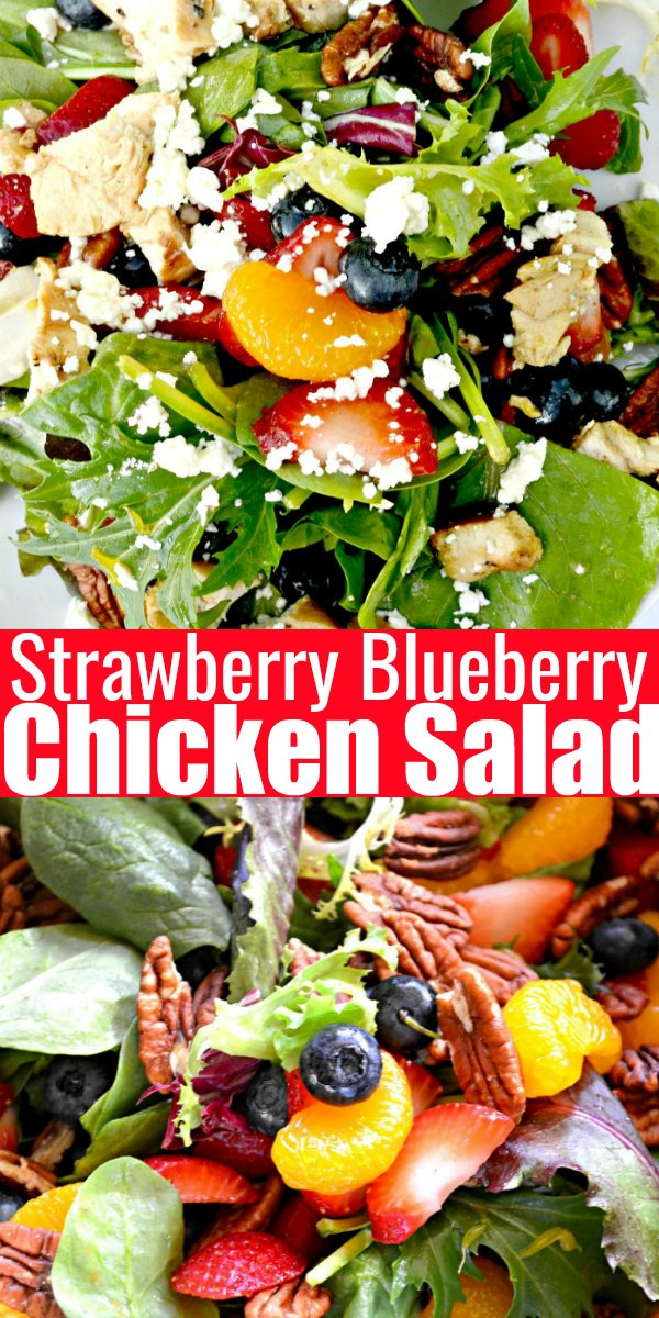 A picture of Strawberry Blueberry Salad with Mandarin Oranges Pecans and Feta Cheese drizzled with orange vinaigrette.