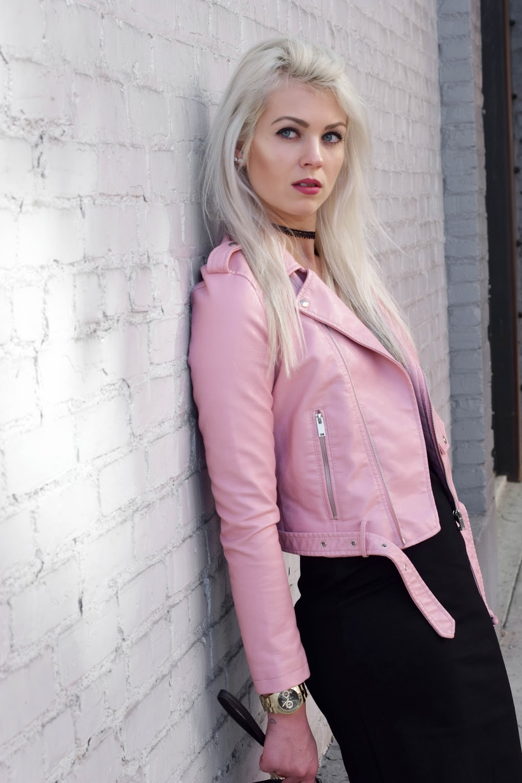 valentine's day, pink leather jacket, valentine's day look