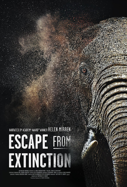 "Movie poster for the nature documentary ""Escape from Extinction"" (2020), narrated by Helen Mirren"