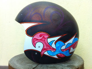 41832214 - カスタムペイント工程  ジェットヘルメット 祭雲天女