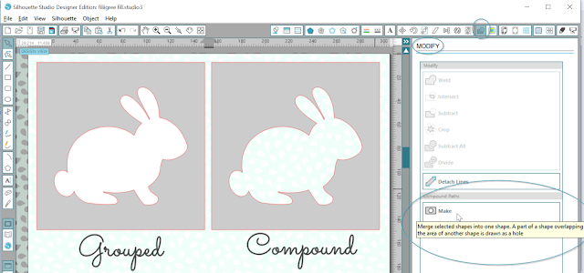 Difference Between Grouped Shapes and Make Compound Paths in Silhouette Studio.  Tutorial by Nadine Muir for Silhouette UK Blog