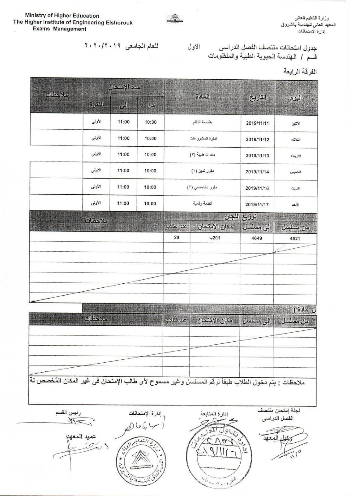 جدول امتحانات اكاديمية الشروق رابعة الهندسة الحيوية الطبية والمنظومات  ميدترم 2019-2020