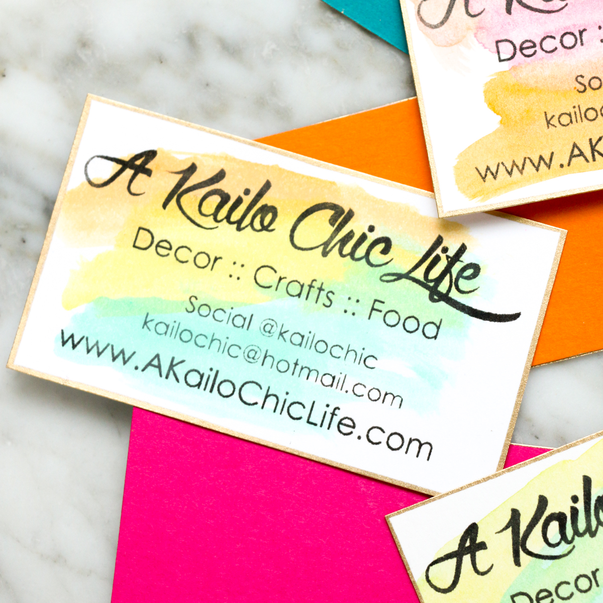DIY It Watercolor Business Cards A Kailo Chic Life
