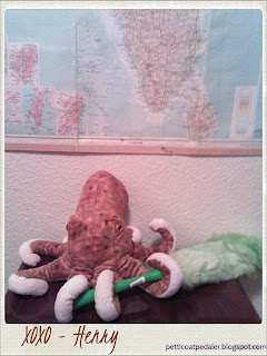 Image looks like a Polaroid picture of a plushie octopus holding a duster in his tentacles.  Bottom of Polaroid reads: XOXO -Henry
