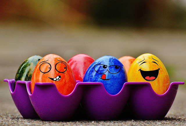 Funny faces on eggs