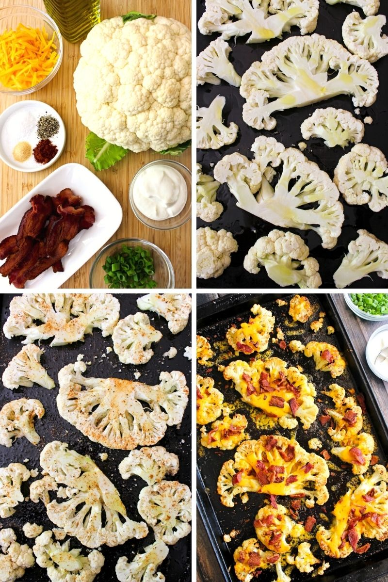 Collage of images of loaded cauliflower steaks being made.
