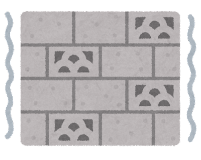 地震で揺れるブロック塀のイラスト(地震)