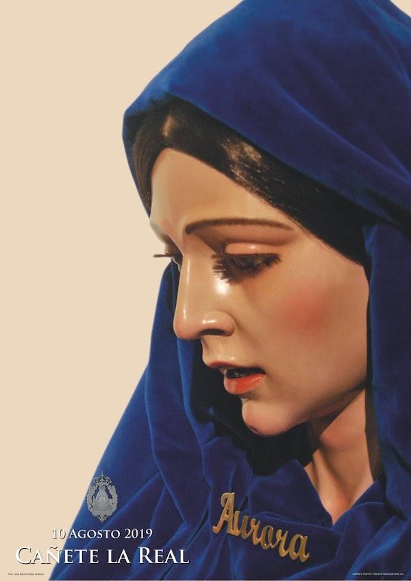 Cartel anunciador de la salida procesional de María Santísima de la Aurora de Cañete la Real