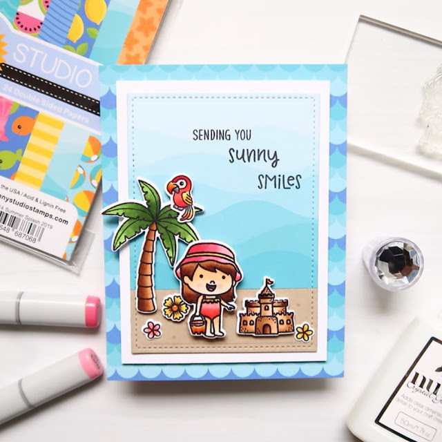 Sunny Studio Stamps: Coastal Cuties Sending Sunshine Customer Card by Laura Sterckx