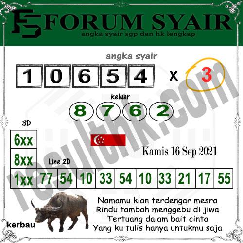 Forum Syair SGP Kamis 16 September 2021