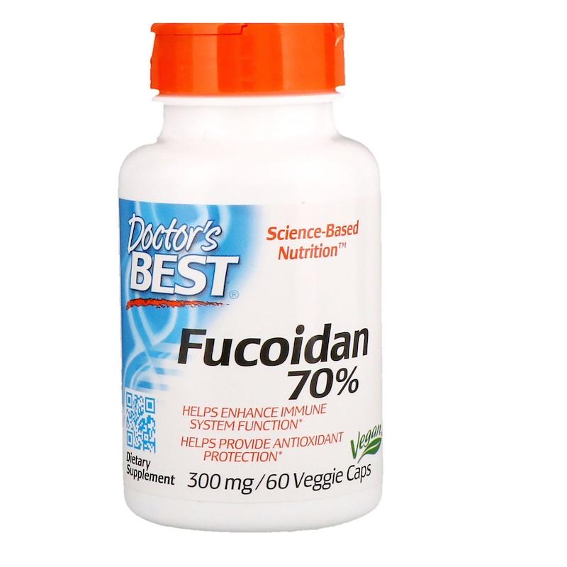 Doctor's Best, фукоидан 70%, 60 вегетарианских капсул
