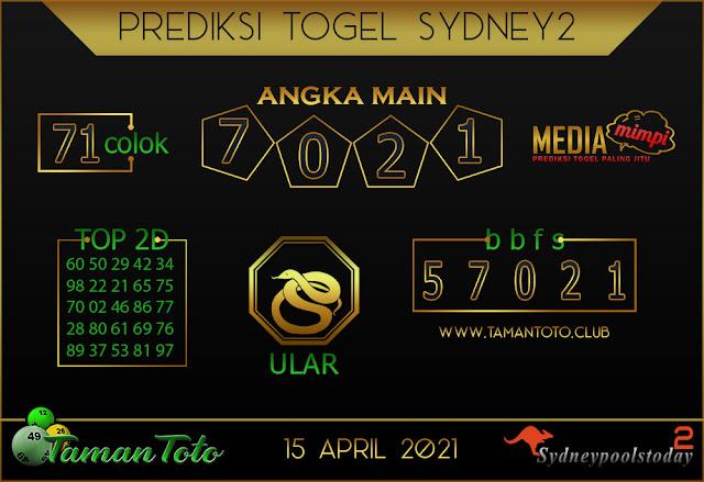 Prediksi Togel SYDNEY 2 TAMAN TOTO 15 APRIL 2021